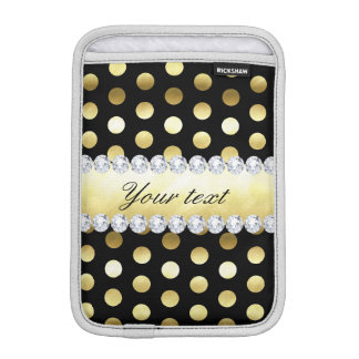 Black Gold Foil Polka Dots Diamonds iPad Mini Sleeves