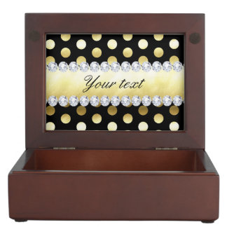 Black Gold Foil Polka Dots Diamonds Keepsake Box