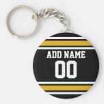 Black Gold Football Jersey Custom Name Number Basic Round Button Key Ring
