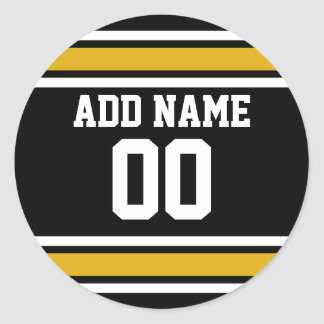 Black Gold Football Jersey Custom Name Number Round Sticker