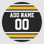 Black Gold Football Jersey Custom Name Number Stickers