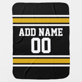 Black Gold Football Jersey Custom Name Number Stroller Blanket