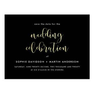 Black & Gold Formal Script Wedding Save The Date Postcard