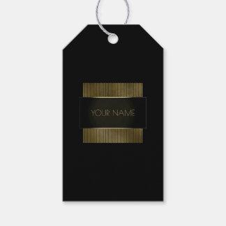 Black Gold Frame Conceptual Minimal Branding Name Gift Tags