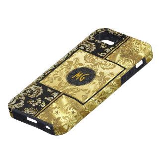 Black & Gold Frame With Floral Design iPhone 5 Case