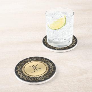 Black & Gold Geometric Circle Mandala Drink Coaster