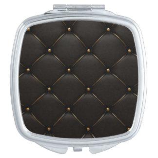 Black & Gold Geometric Pattern Travel Mirrors