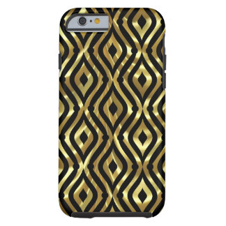 Black & Gold Geometric Quatrefoil Pattern Pattern Tough iPhone 6 Case