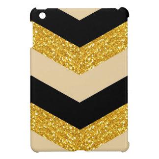 Black & Gold Glitter Chevron iPad Mini Case
