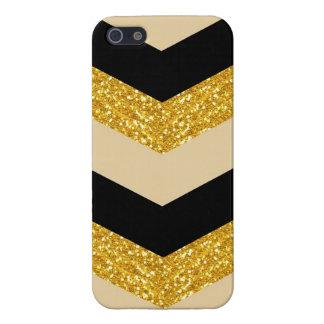 Black & Gold Glitter Chevron iPhone 5/5S Case
