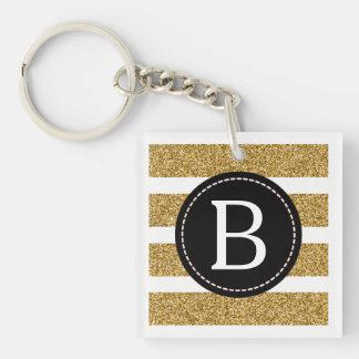 Black & Gold Glitter (Choose Background Color) Key Ring