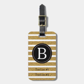 Black & Gold Glitter (Choose Background Color) Luggage Tag