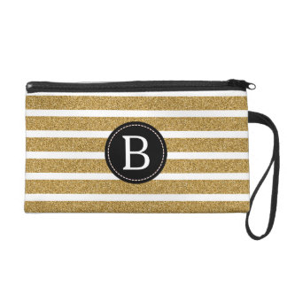 Black & Gold Glitter (Choose Background Color) Wristlet