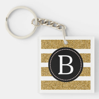 Black & Gold Glitter (Choose Background Colour) Double-Sided Square Acrylic Key Ring