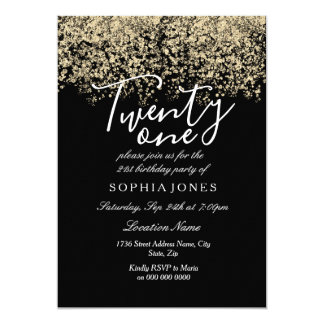 Black Gold Glitter Confetti 21st birthday party Card