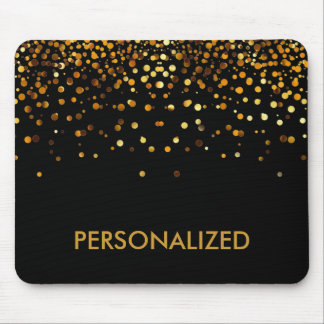 Black Gold Glitter Confetti Faux Personalized Mouse Pad