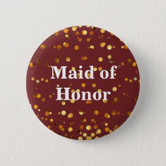 Black Gold Glitter Confetti Foil Maid of Honor 6 Cm Round Badge
