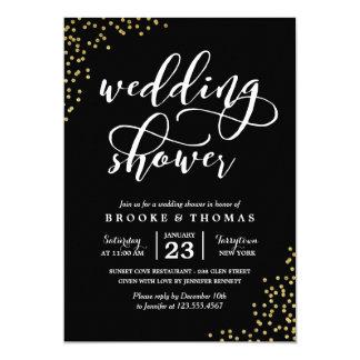Black Gold Glitter Confetti Wedding Shower 13 Cm X 18 Cm Invitation Card