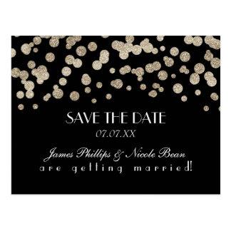 Black & Gold Glitter Dots Save The Date Postcard