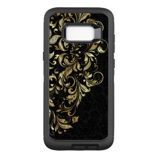 Black Gold Glitter Elegant Floral Lace OtterBox Defender Samsung Galaxy S8+ Case
