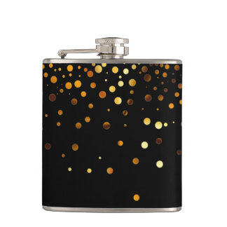 Black Gold Glitter Faux Foil Confetti Flask