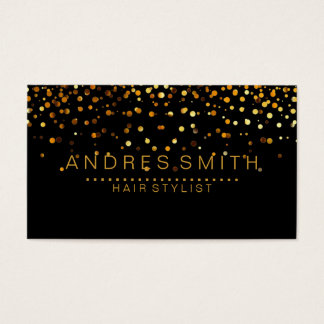 Black Gold Glitter Faux Foil Confetti Hair Stylist Business Card