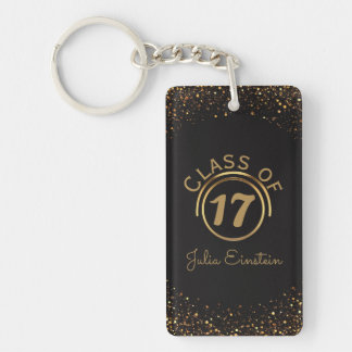 Black Gold Glitter Graduation | Your Name Class of Key Ring
