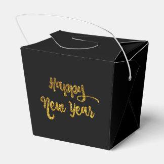 Black & Gold Glitter Happy New Year Favor Box Wedding Favour Box
