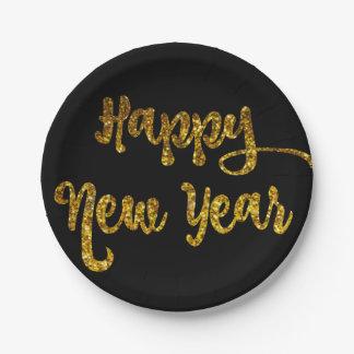 Black & Gold Glitter Happy New Year Plates