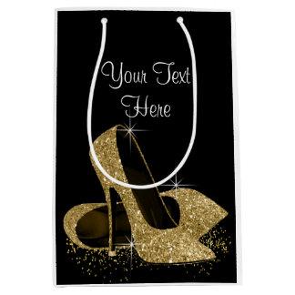 Black Gold Glitter High Heel Shoes Medium Gift Bag