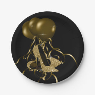 Black Gold Glitter High Heel Shoes Womans Birthday Paper Plate
