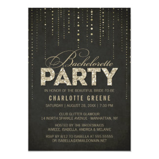 Black & Gold Glitter Look Bachelorette Party 13 Cm X 18 Cm Invitation Card