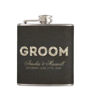 Black & Gold Glitter Look Groom Flask