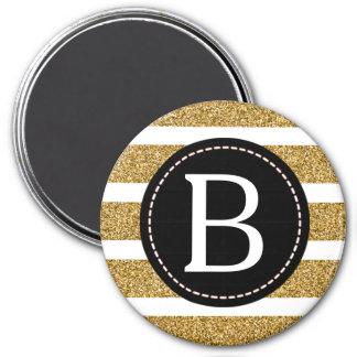 Black & Gold Glitter Monogram 7.5 Cm Round Magnet