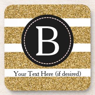 Black & Gold Glitter Monogram (Borderless) Coaster
