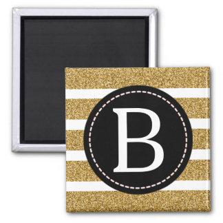 Black & Gold Glitter Monogram (Borderless) Magnet