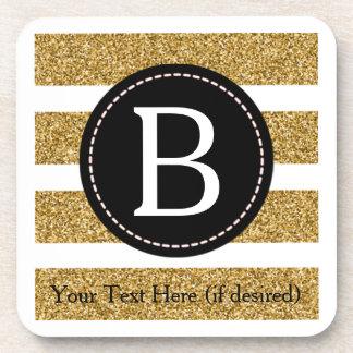 Black & Gold Glitter Monogram Coaster