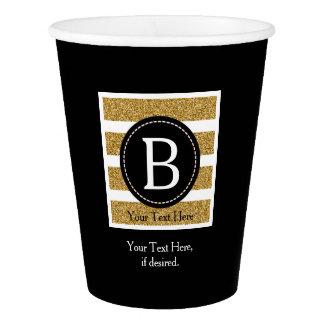 Black & Gold Glitter Monogram Paper Cup