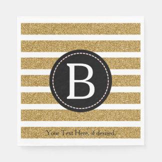Black & Gold Glitter Monogram Paper Napkins
