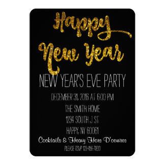 Black & Gold Glitter New Year's Eve Invitation