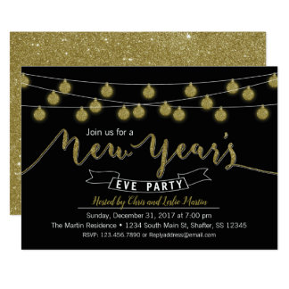 Black Gold Glitter New Year's Eve Party Invitation