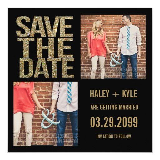 Black & Gold Glitter Save The Date Photo Cards 13 Cm X 13