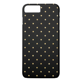Black Gold Glitter Small Polka Dots Pattern iPhone 8 Plus/7 Plus Case