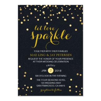 Black Gold Glitter Sparkle Wedding invitation