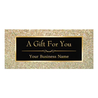 Black Gold Glitter Sparkling Gift Certificate Card Customized Rack Card
