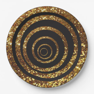 Black & Gold Glitter Swirl and Polka Dot Plates 9 Inch Paper Plate