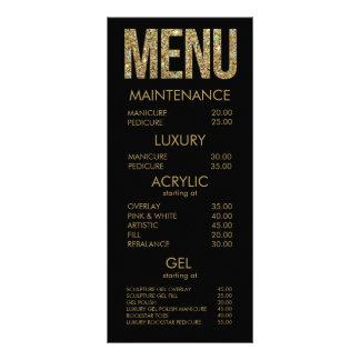 Black & Gold Glitter Typography Salon Menu Cards Custom Rack Card