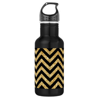 Black Gold Glitter Zigzag Stripes Chevron Pattern 532 Ml Water Bottle