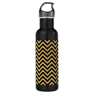 Black Gold Glitter Zigzag Stripes Chevron Pattern 710 Ml Water Bottle