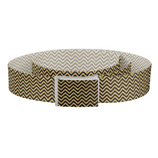 Black Gold Glitter Zigzag Stripes Chevron Pattern Belt